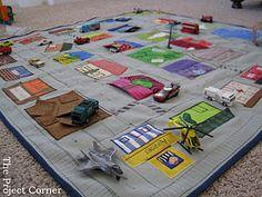 Adorable play mat for kids Car Play Mats, Car Mats, Diy For Kids, Gifts For Kids, Winter Activities For Kids, Toddler Activities, I Spy Quilt, Kids Schedule, City Car