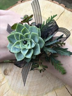 Succulent corsage designed by Simply Exquisite by the Bay - Modern Red Corsages, Black Corsage, Prom Corsage And Boutonniere, Corsage Wedding, Boutonnieres, Succulent Corsage, Flower Corsage, Wrist Corsage, Prom Flowers