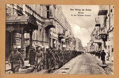 Wilna Postkarte I.Weltkrieg Wilnaerstraße mit Soldaten schöne Straßen Ansicht