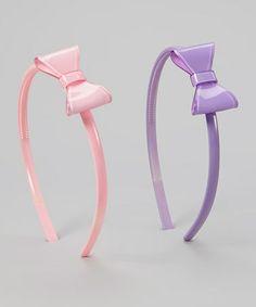 Look what I found on #zulily! Pink & Purple Bow Jelly Headband Set #zulilyfinds