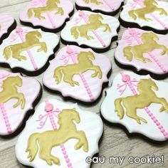 Carousel cookies Cupcakes, Cupcake Cookies, Sugar Cookies, Carousel Cake, Carousel Party, Baptism Cookies, Baby Shower Cookies, Carousel Birthday Parties, 1st Birthday Parties