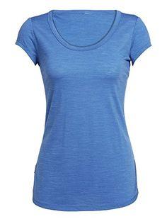 4e4677211412e Icebreaker Womens Spheria Short Sleeve Scoop TShirts XLarge Pelorus Heather      Click image for