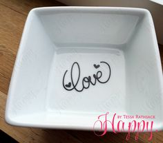 Simple Ring Dish for Jewelry Cursive LOVE & Hearts by HappyTessa