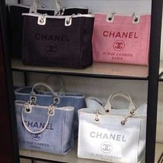 """the name """"Chanel"""" usually gives us a hint of luxury. but these Deauville Totes are just perfect matches for our spring/summer looks."""