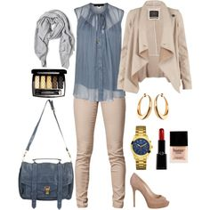 blue and beige outfit
