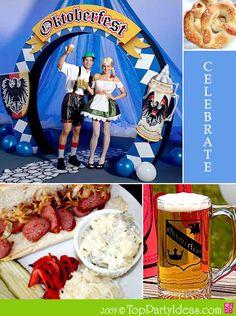 Oktoberfest Collage with couple in German outfit, Pretzel, Beer picture, German Sausage Meal, Sauerkraut, German Potato Salad