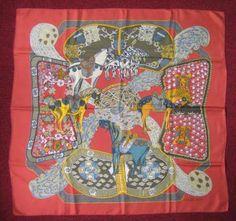 HERMES Carré «Art des steppes», fond rouille.