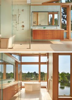 This master bath cantilevers dramatically out toward the river, allowing the freestanding tub to visually float over the river traffic.