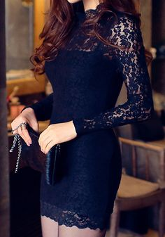 Cutout Black Bodycon Dress - Long Sleeves Lace Dress