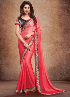 Make the heads flip the moment you dress up in this sort of a attractive red fancy fabric designer saree. Beautified with embroidered, lace and resham work all synchronized well through the design and...