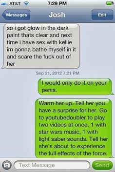 Oh. My. God. Inappropriate, but this is way too funny. I wouldn't even be mad.
