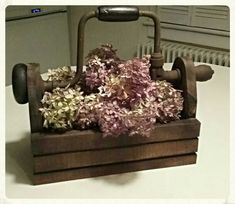Antique hand drill tool box hubby made me..