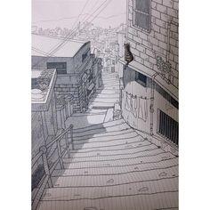 work finished ✒️최종 마무리  #illustration#penillust#penillust#watercolor#drawing#art#instaart#car#stairsway#alley#pen#staedtler#copic#painting#일러스트레이션#드로잉#고양이#골목길#수채화#펜일러스트#작업끝