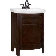 """I really like this vanity. It is the perfect size for a small bathroom or powder room. The sink is nice and thick too. It looks more like a pedestal sink (but with storage)."" --Home Depot customer ""jonesy"""