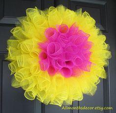 Yellow and Pink Flower Spiral Deco Mesh Wreath, Sping, Easter, Children, Teen, Girl, Teacher Classroom Decorations, School