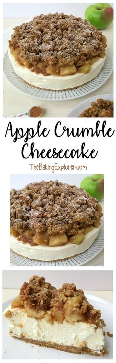 Apple Crumble Cheesecake (No Bake) - The Baking Explorer. Perfect for Autumn, Fall, Thanksgiving and Christmas!