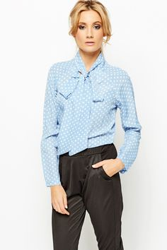 Tie-Up Neck Blue Polka Dot Blouse