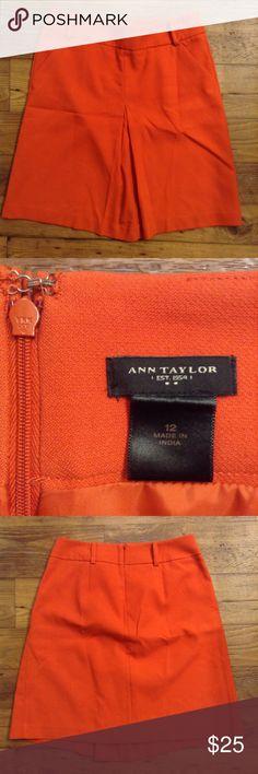 Ann Taylor orange skirt size 12 Pleating in front. Belt loops. Slant pockets. Lined. Back zipper. Ann Taylor Skirts Midi