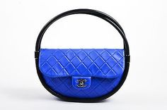"""Chanel SS13 Black Blue Quilted Lambskin Leather 'CC' Flap Small """"Hula Hoop"""" Bag"""