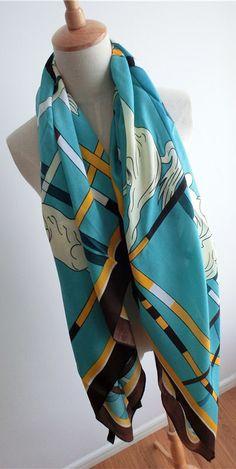 Morpheus Boutique  - Blue Hourse Cotton Designer Shawl Long Scarf Wrap