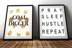 Printable Boss Babe Goal Digger Quotes Wall Art Home Decor by WatermallinandCo