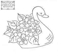 swan with flowers embroidery pattern