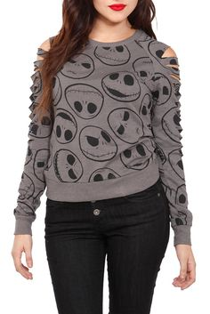 The Nightmare Before Christmas Jack Skellington gray long-sleeve top with shredded sleeves. Have it