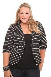Torrid: striped blazer with hood