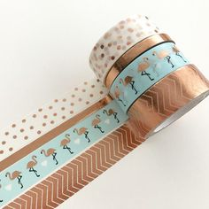 Masking Tape - Washi Tape Set Copper Flamingo - a unique product by Herz-Buffet on DaWanda - Leanna Toothaker Masking Tape Art, Washi Tape Set, Duct Tape, Washi Tape Planner, Cool School Supplies, Decorative Tape, Cute Stationery, Tape Crafts, Buffet