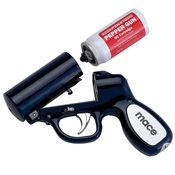 "Eagle Defense Products.com The MACE® PEPPER GUN - Sprays up to 25 feet. - Bag-In-a-Can Technology. - ""Made in USA"""