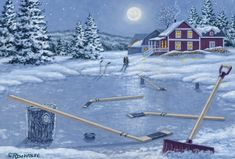 Home for Supper by Richard De Wolf ~ winter ~ frozen pond ~ ice hockey