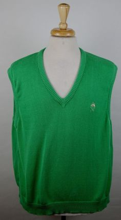 Brooks Brothers Men's Size Large Solid Green 100% Cotton Sweater Vest #BrooksBrothers