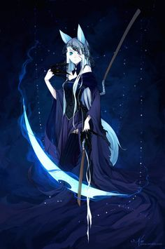 anime girl with a moon scythe : A fox spirit of life and death