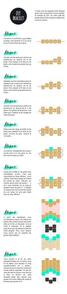 DIY Bracelet perles Miyuki -©Peek it Magazine Bracelet Patterns, Beading Patterns, Beading Tutorials, Bead Crafts, Jewelry Crafts, Peyote Stitch Tutorial, Bead Loom Bracelets, Diy Bracelet, Beading Techniques
