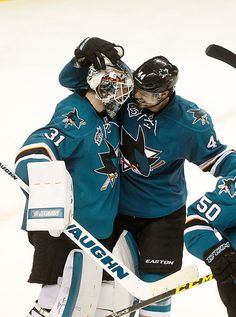 San Jose Sharks goaltender Martin Jones (31) celebrates with teammate Marc-Edouard Vlassic (44) after their 5-2 win over the St. Louis Blues in Game 6 of the NHL Western Conference finals on Wednesday, May 25, 2016 at SAP Center in San Jose, Calif. (Aric Crabb/Bay Area News Group)