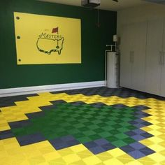 Fabulous Garage Floor Designs, this client wanted to highlight his love of golf and pulled in the colors from his Master's tournament wall wart to be duplicated in creative design with PremierTrax garage floor tiles. Floor Design, Home, Red Washer And Dryer, Garage Floor Tiles, Flooring, Garage Flooring Options, Garage, Contemporary Rug, Furnishings