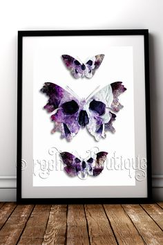 Beautiful addition to your gothic home decor. Used together the skull represents our mortality and the butterfly rebirth, a gorgeous combination #RockChicBoutique #Butterfly #Skull #ButterflySkull #WallArt