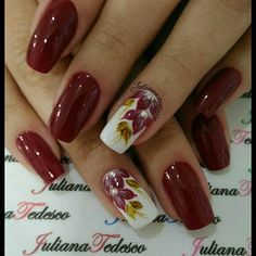 Maroon Nail Designs, Nail Designs Bling, Fall Nail Art Designs, Flower Nail Designs, Flower Nail Art, Beautiful Nail Art, Gorgeous Nails, Pretty Nails, Maroon Nails