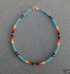 Bl-Turquoise-Bead-Anklet-Ankle-Bracelet-Native-American