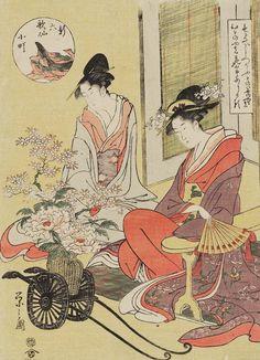"""""""Komachi"""", ukiyo-e woodblock print, about 1800, Japan.  Artist Chobunsai Eishi"""