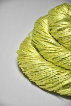 Splitted lime Silk Tape Lace Yarn SUMMER EDITION by DyeForYarn