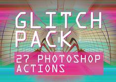 27 グリッチの Photoshop のアクション - 2 パック特別な契約!グリッチ アート、サイケデリック、3 D、歪曲、グランジ、Adobe のデジタル写真の効果