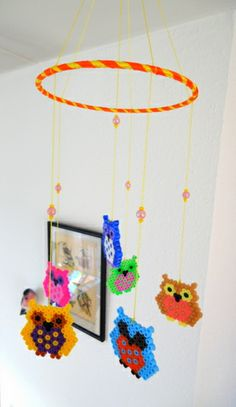Bead owl mobile. #bead #mobile #diy