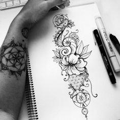 ▷ Flower Ideas Tattoo designs and their meanings .- ▷ 1001 + Ideen für Blumen Tattoo Designs und ihre Bedeutungen drawing of tattoo tendril, a hand with tattoos, which have tattoos, ideas - Hand Tattoo, Tattoo Motive, Diy Tattoo, Mandala Tattoo, Nautilus Tattoo, Tattoo Names, Tattoo Music, Bird Tattoos, Dragonfly Tattoo