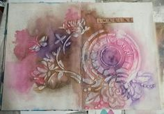Art journal page in altered book. Gesso, textured paste, stencil, sprays and inks.