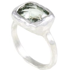 Simplify Handcrafted Green Amethyst Sterling Silver Ring