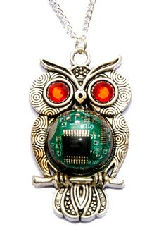 Cyberpunk Green Circuit Board Owl Necklace with Red Eyes. Genuine Circuit Board encased in Water Clear Resin. Hand Made in Cornwall, UK. Owl Necklace, Pendant Necklace, Clear Resin, Cyberpunk, Circuit, Goodies, Drop Earrings, Jewellery, Awesome