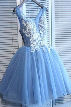 9d370d5848 V Neck Blue Tulle Cheap Short Homecoming Dresses With Lace Applique PD215