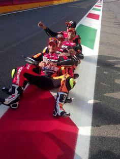 Photoshoot for NGM Forward Racing Team with Colin Edwards, Aleix Espargaro, Mattia Pasini e Simone Corsi. Circuit of Mugello, 2014.