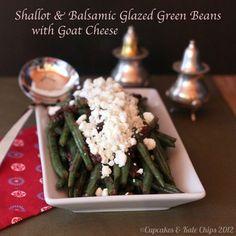 Shallot & Balsamic Glazed Green Beans with Goat Cheese #RecipeRedux #Vegetarian #GlutenFree